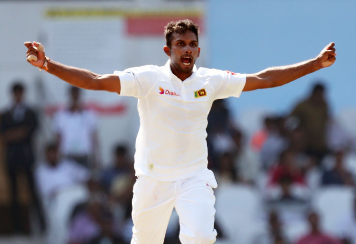 Sri Lanka's Dasun Shanaka celebrates the wicket of India's Cheteshwar Pujara on Day 3 of the 2nd Test at the Vidarbha Cricket Association Stadium in Nagpur on Sunday