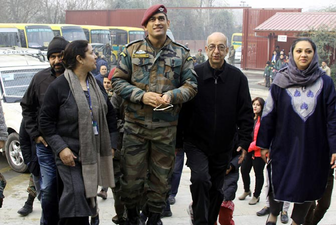 India cricket legend Mahendra Singh Dhoni in Srinagar, November 28, 2017, where he interacted with students at the Delhi Public School. Photograph: Umar Ganie for Rediff.com