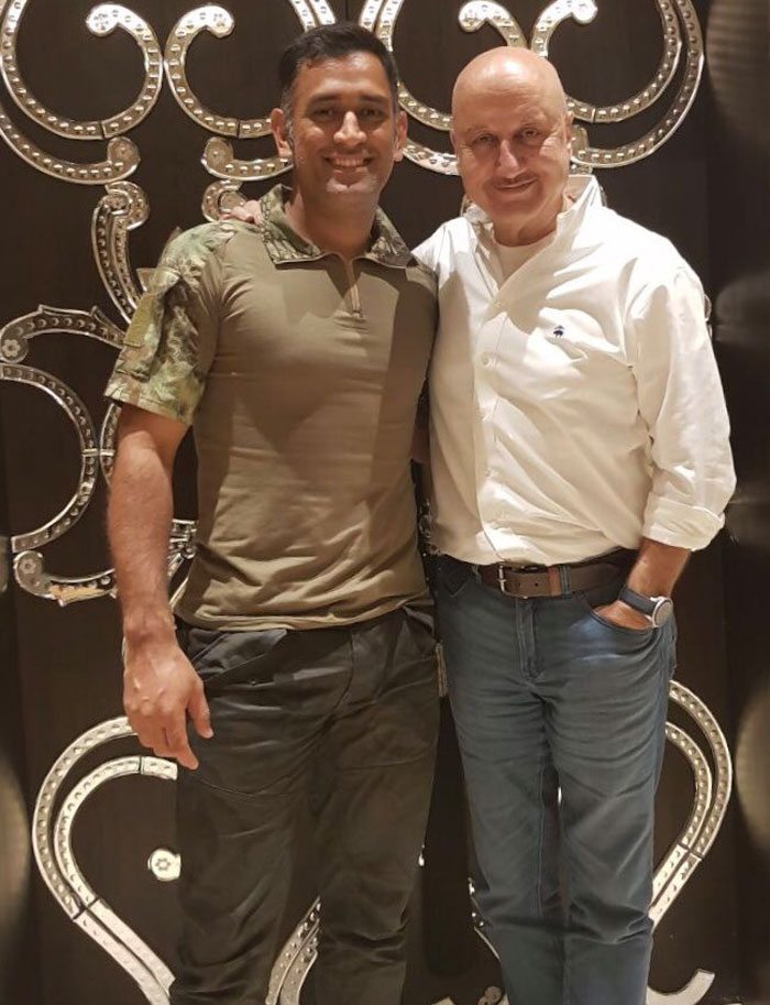 Mahendra Singh Dhoni and Anupam Kher are all smiles
