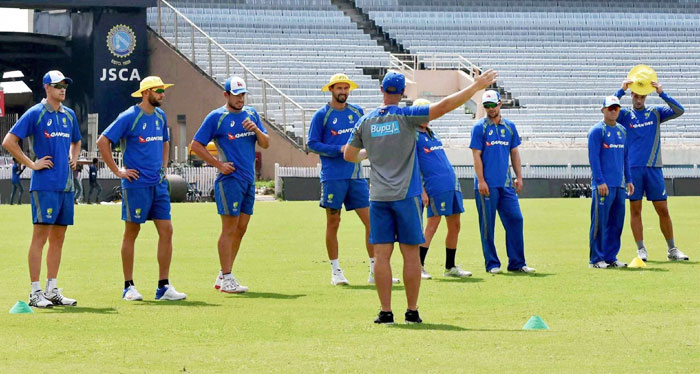 The Australian players during a practice session at JSCA stadium in Ranchi on Thursday