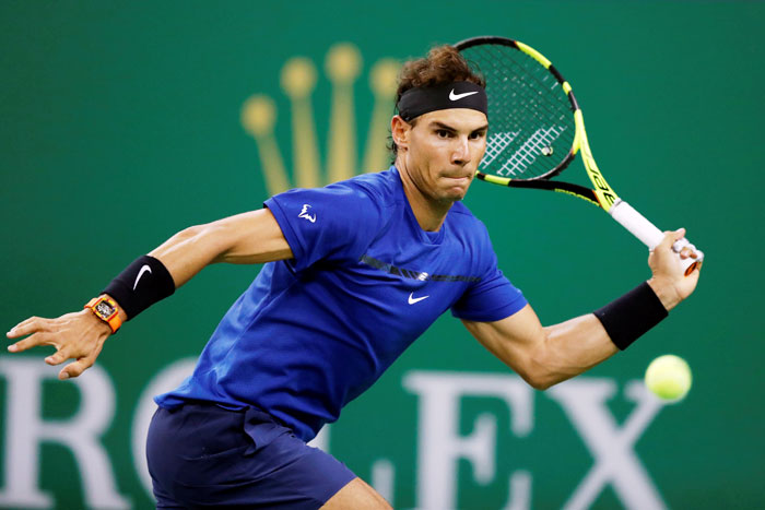 Spain's Rafael Nadal in action against USA's Jared Donaldson during their 2nd round match at the Shanghai Masters on Wednesday