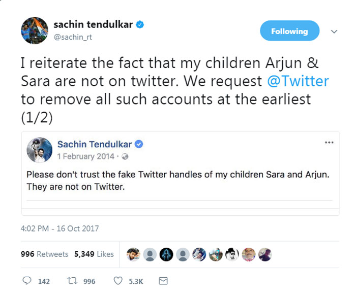 Rediff Cricket - Indian cricket - Tendulkar requests Twitter to take down fake handles of his kids
