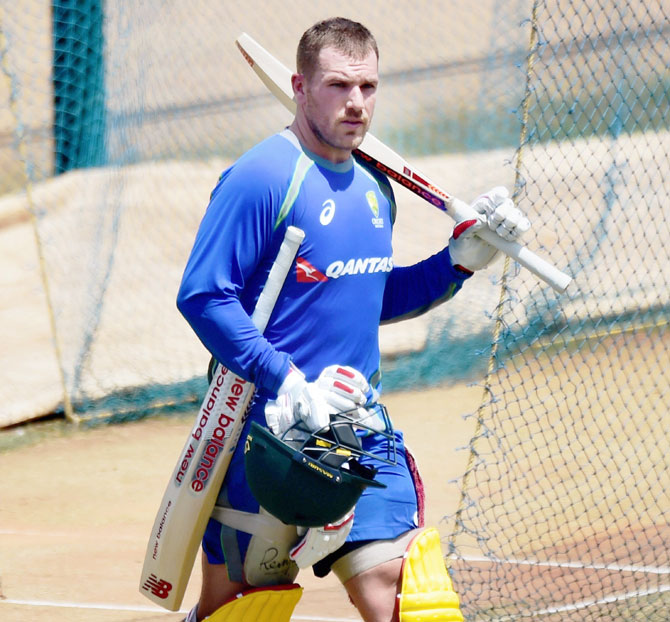 Australian cricketer Aaron Finch gets set for a practice session at MAC Stadium in Chennai, on Sunday