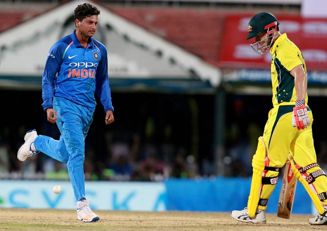 Rediff Sports - Cricket, Indian hockey, Tennis, Football, Chess, Golf - I feel I can get Warner out anytime, says confident Kuldeep