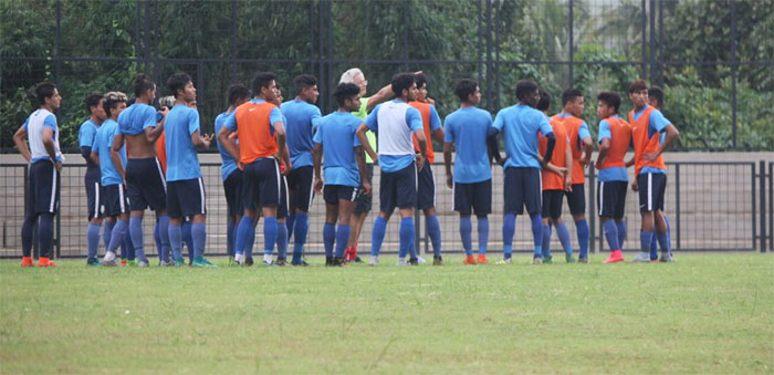 India U-17 players with coach Luis Norton de Matos at a practice session