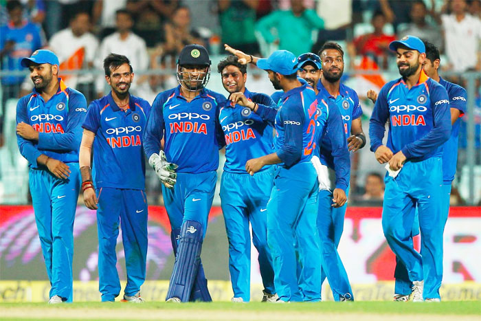 India's players celebrate after taking a wicket at Eden Gardens on Thursday