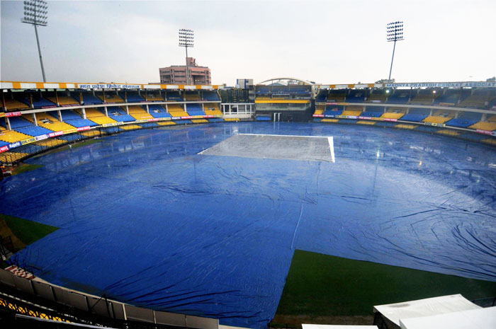 With the rains lashing the city of Indore, covers were put on the ground at the Holkar cricket stadium on Thursday