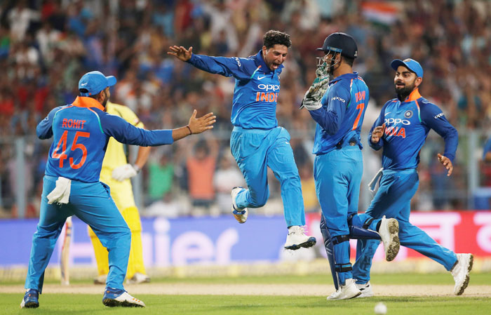Rediff Sports - Cricket, Indian hockey, Tennis, Football, Chess, Golf - Had the delivery spun in, I wouldn't have got the hat-trick: Kuldeep