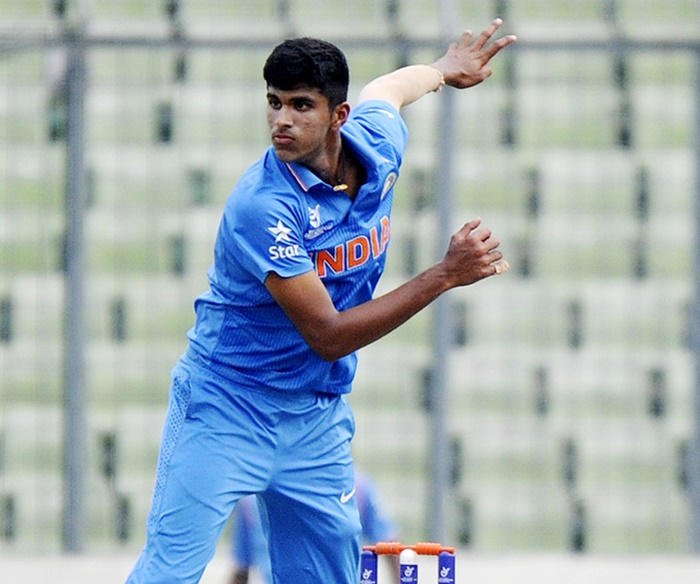 Washington Sundar in action