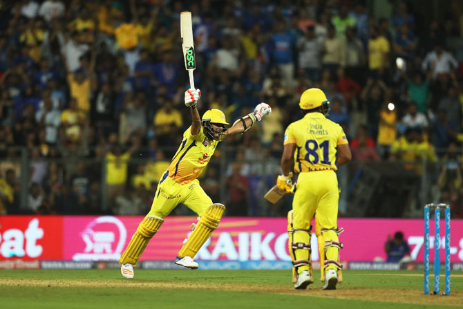 CSK's Imran Tahir celebrates after teammate Kedar Jadhav hits the winning runs