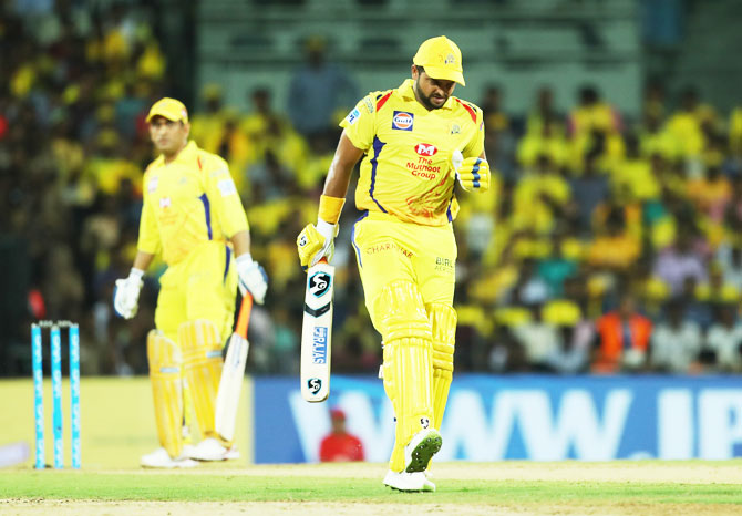 CSK's Suresh Raina pulls up with an calf injury during their IPL match against KKR on Tuesday