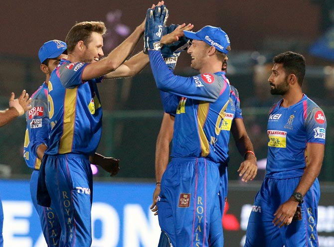 IPL PHOTOS: Rajasthan outclass Delhi in rain-hit match