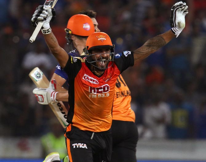 IPL PHOTOS: Sunrisers win last-ball thriller against Mumbai