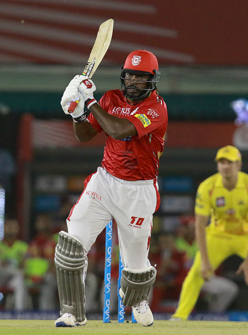 Kings XI Punjab's Chris Gayle bats during his innings against Chennai Super Kings on Sunday