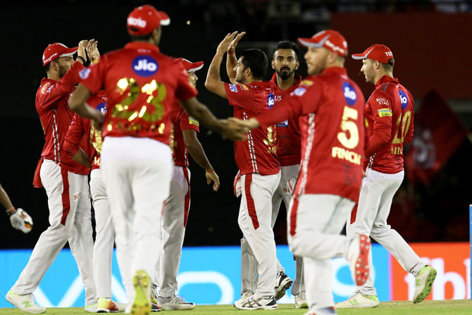 Kings XI Punjab's Mohit Sharma  celebrates the wicket of Sunrisers Hyderabad's Wriddhiman Saha
