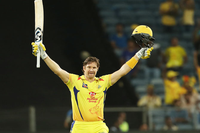 Shane Watson celebrates his century against the Rajasthan Royals, April 20, 2018