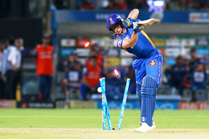 Rajasthan Royals' Jos Buttler is bowled out by Jasprit Bumrah