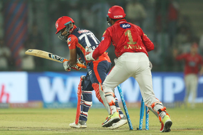 Delhi Daredevils' Rishabh Pant is bowled by Kings XI Punjab's Mujeeb Ur Rahman