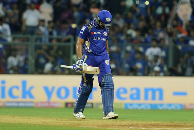 Rohit Sharma walks off after being dismissed by Shakib Al Hasan