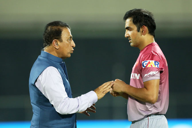 Batting legend and TV commentator Sunil Gavaskar and Delhi Daredevils' Gautam Gambhir have a chat before the match against KKR on Friday