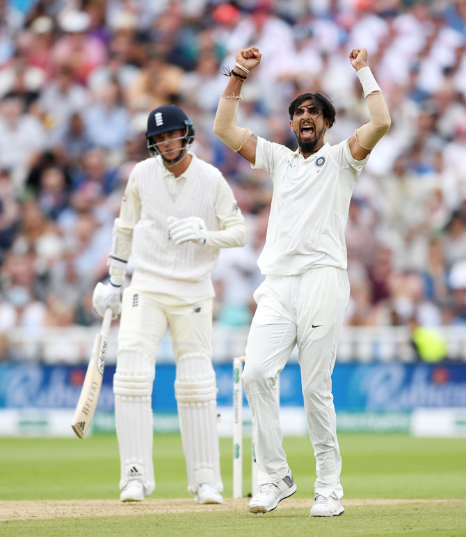 Ishant Sharma celebrates on picking the wicket of Stuart Broad, his fifth of the innings