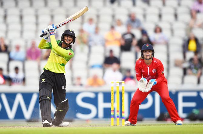Smriti Mandhana of Western Storm batting during the Kia Super League match between Lancashire Thunder AND Western Storm at Old Trafford in Manchester on Friday