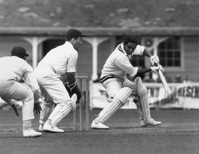 Indian cricketer Dilip Sardesai batting at Colchester during Essex vs India tour match in 1971.