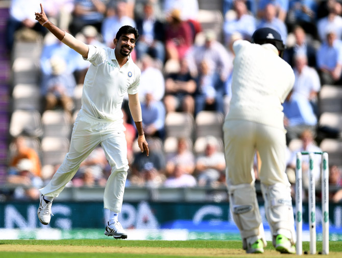 Jasprit Bumrah celebrates after taking the wicket of Jonny Bairstow