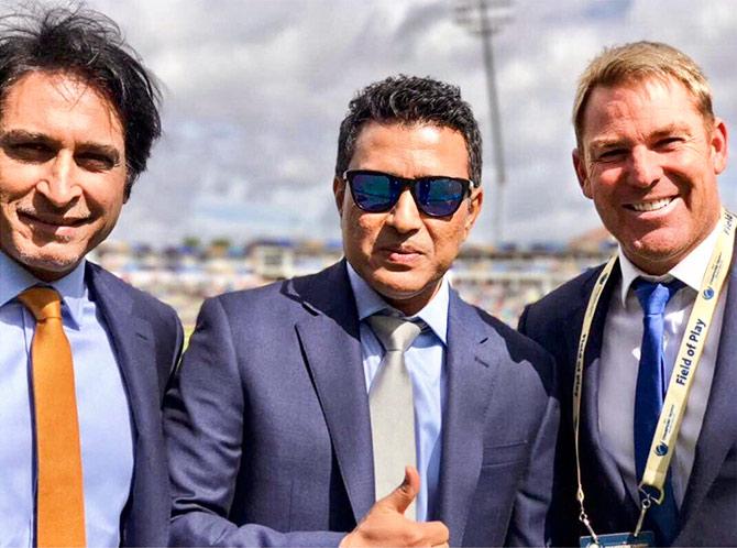 Rameez Raja, Sanjay Manjrekar and Shane Warne