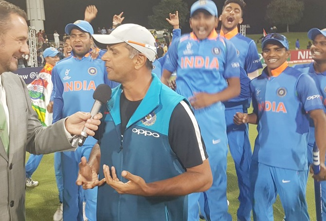 Rahul Dravid, the mastermind behind India's Under-19 World Cup triumph. Photograph: Cricket World Cup/ICC/Twitter