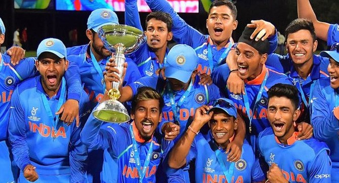 The Indian team after they won the Under-19 World Cup in New Zealand, February 3, 2018. Photograph: Kind courtesy Cricket World Cup/ICC/Twitter