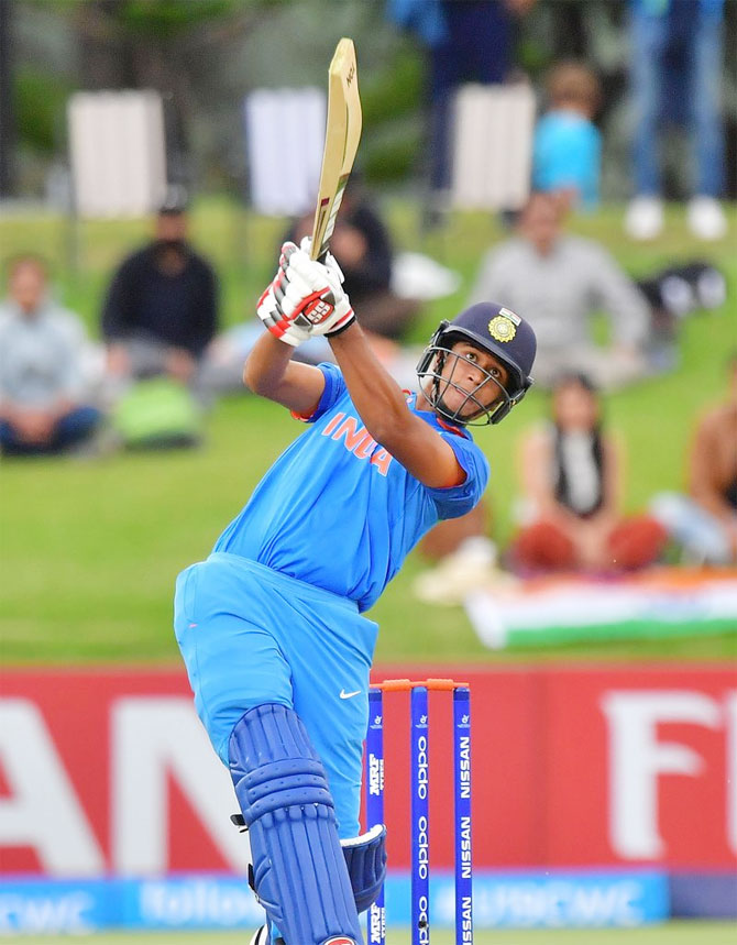 Manjot Kalra, who hit a century in the Under-19 World Cup final against Australia. Photograph: Cricket World Cup/ICC/Twitter