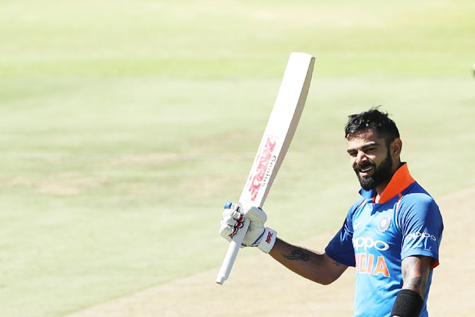 Virat Kohli celebrates his ton against South Africa