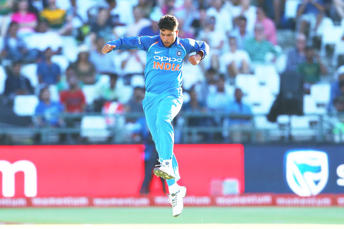 India's Kuldeep Yadav celebrates the the wicket of South Africa captain Aiden Markram