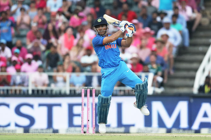 Mahendra Singh Dhoni goes after the bowling as he scores 42 not out