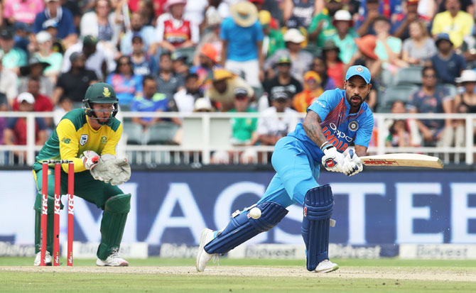 Shikhar Dhawan bats during his innings of 72 off 39 deliveries