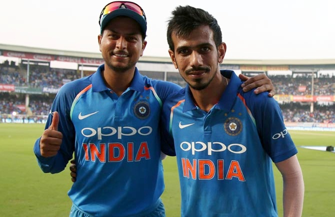 Kuldeep Yadav, left, and Yuzvendra Chahal