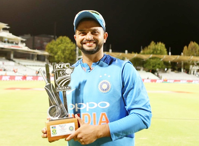 Raina with his Man of the Match trophy after the third T20I against South Africa, February 25, 2018. Photograph: BCCI