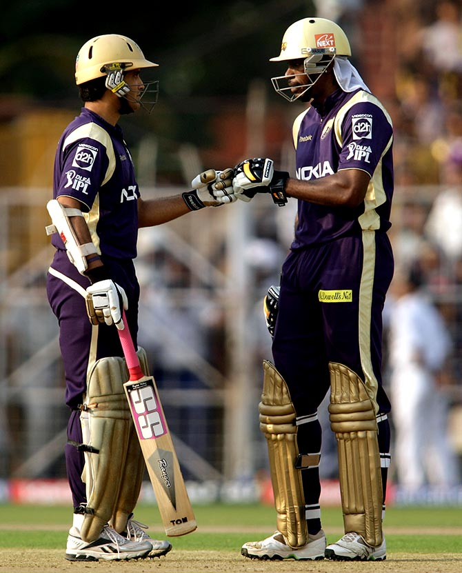 Sourav Ganguly with Chris Gayle