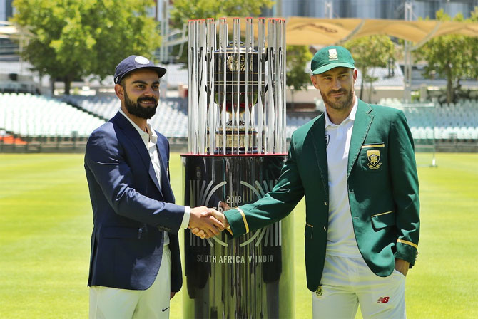 India captain Virat Kohli and South Africa captain Faf du Plessis at the launch of the 2018-19 Freedom Series on Wednesday