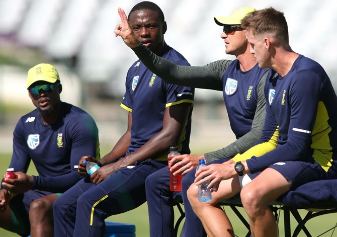 South Africa bowlers at a training session on Wednesday