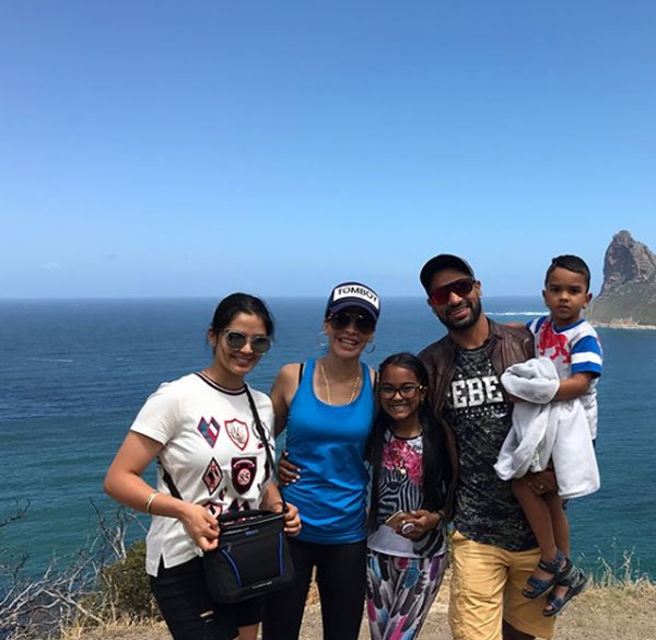 India opener Shikhar Dhawan poses with his family in picturesque Cape Town