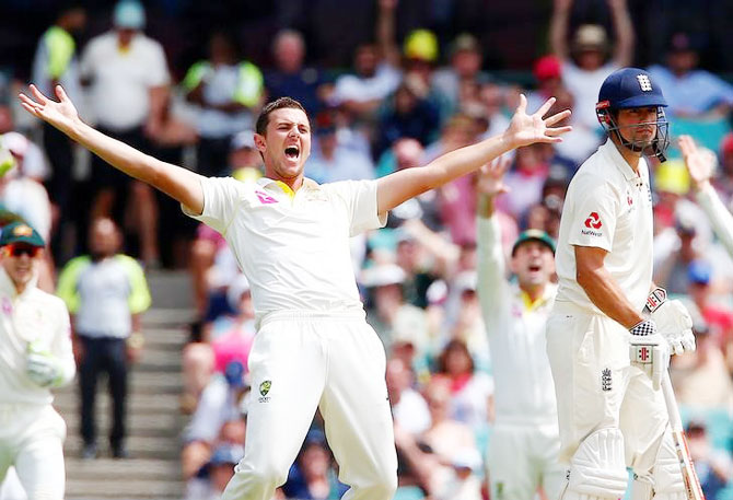 Australia's Josh Hazlewood appeals successfully for the wicket of England's Alastair Cook. The dismissal came via DRS