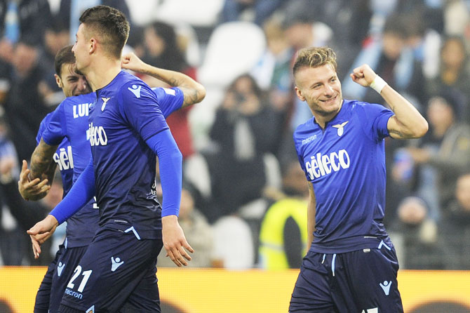 SS Lazio's Ciro Immobile celebrates a fifth goal during their Serie A match against SPAL at Stadio Paolo Mazza in Ferrara, Italy, on Saturday