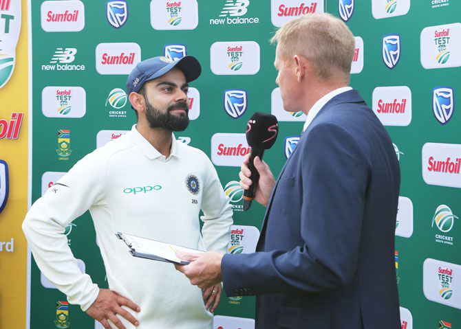 Virat Kohli speaks during the post-match presentation ceremony on Monday