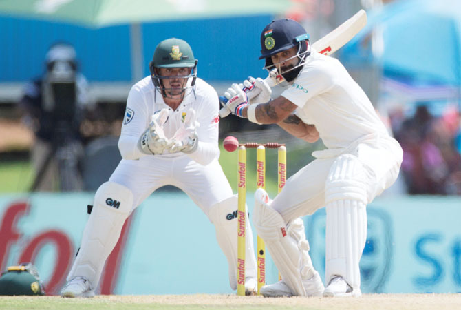 Virat Kohli bats en route an unbeaten 85 on Day 2 of the 2nd Test at Centurion on Sunday
