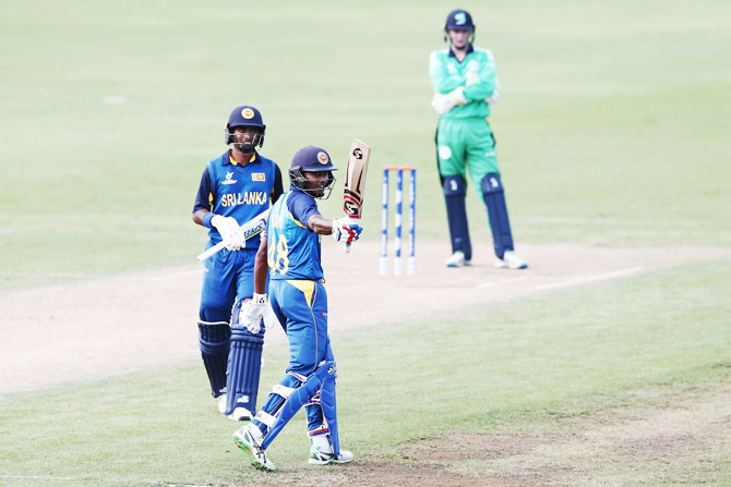 Dhananjaya Lakshan celebrates his century against Ireland on Sunday
