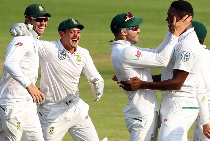South Africa players celebrate after Lungi Ngidi gets the wicket of Parthiv Patel