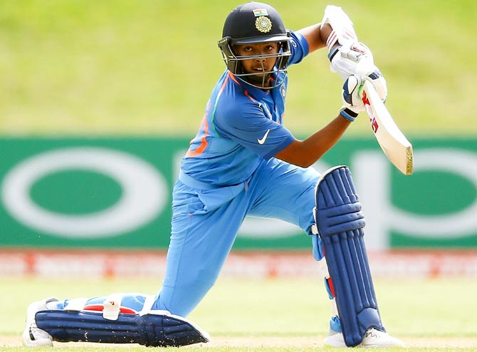 India Under-19 Captain Prithvi Shaw in action. Photograph: ICC/Getty Images