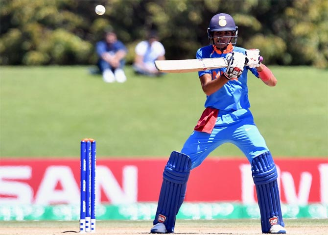 Shubman Gill, Man of the Tournament in the Under-19 World Cup, plays a shot. Photograph: ICC/Getty Images